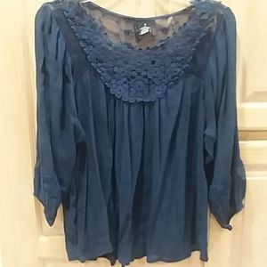 Navy Boho and lace tunic top